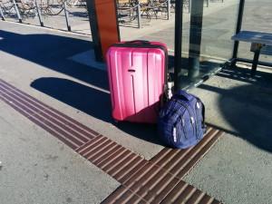 Ma valise et mon sac à dos à Bergen, Norvège